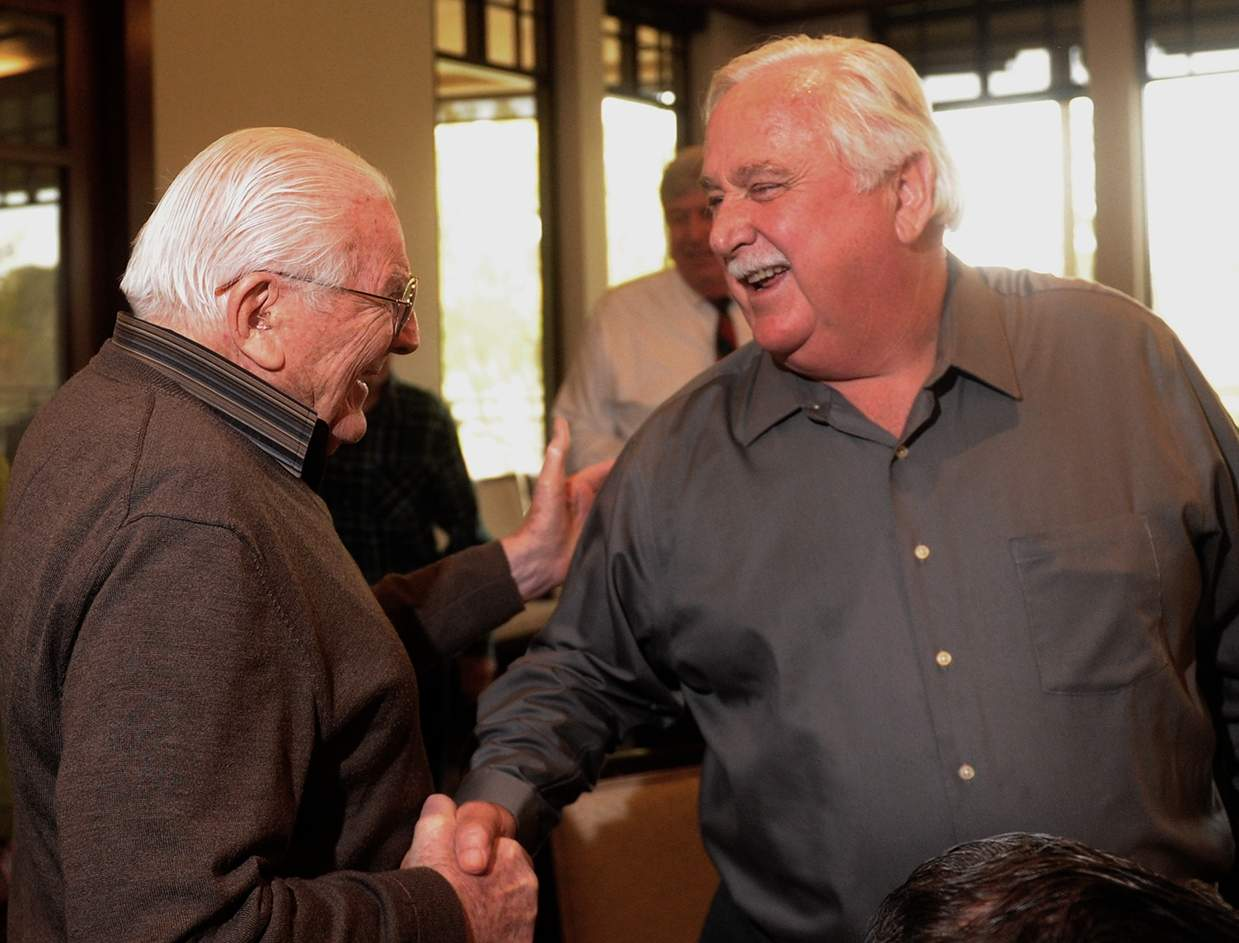 Fred Weibel shakes hands