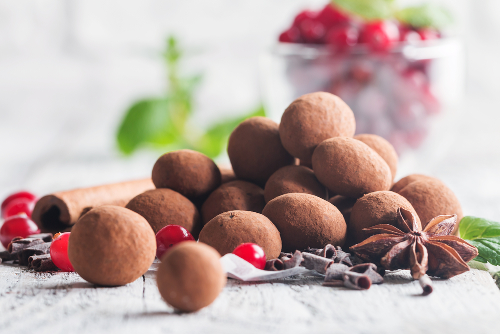 A pile of chocolate truffles