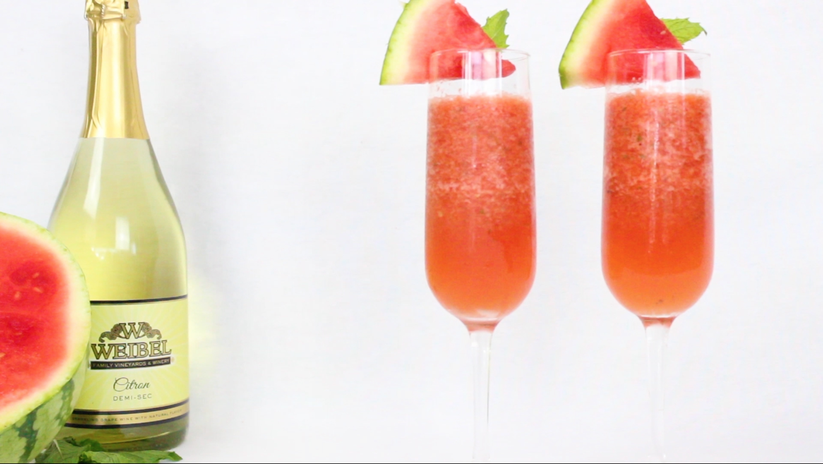 Two watermelon mimosas