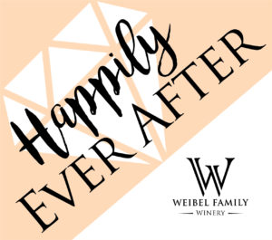 "A Label with a diamond design that reads ""Happily Ever After"""